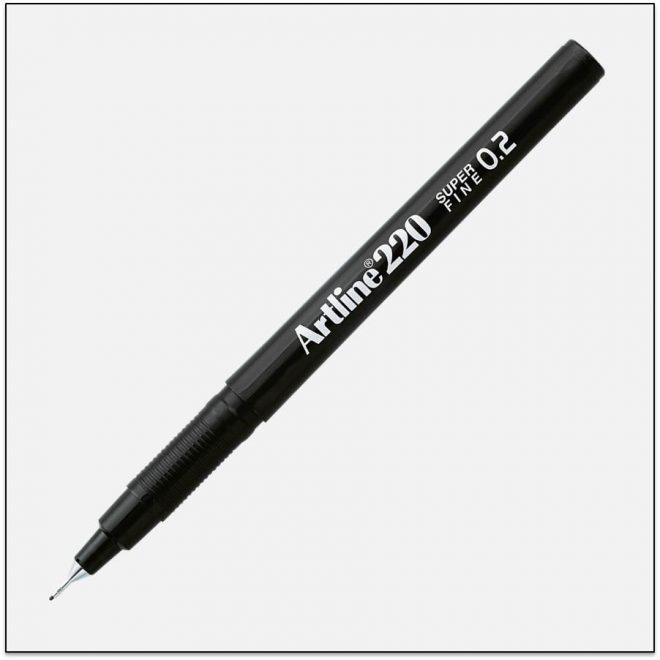 EK 220 BLACK bút lông kim nét nhỏ Artline Japan 1