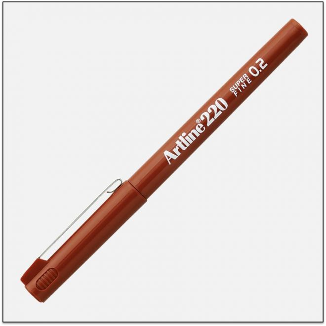 EK 220 BROWN bút lông kim nét nhỏ Artline Japan 1