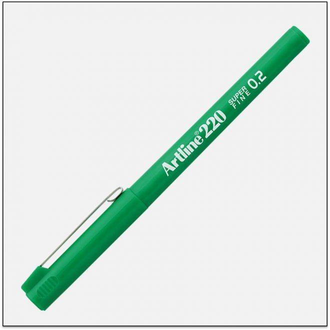 EK 220 GREEN bút lông kim nét nhỏ Artline Japan 1