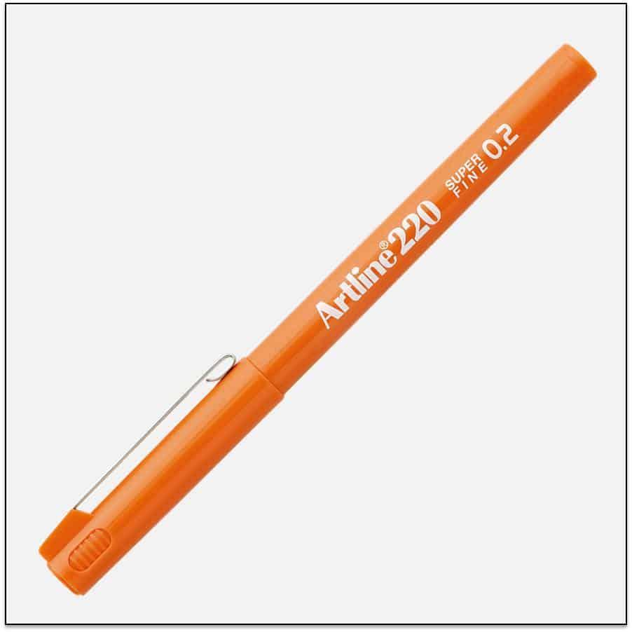 EK 220 ORANGE bút lông kim nét nhỏ Artline Japan 1