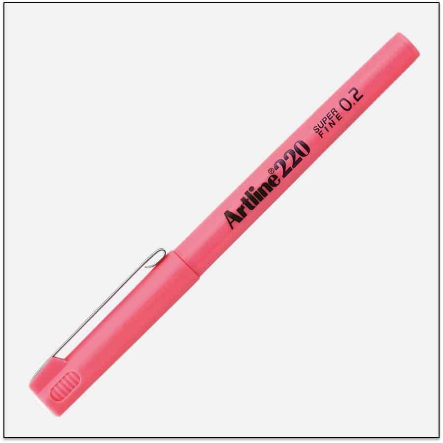 EK 220 PINK bút lông kim nét nhỏ Artline Japan 1
