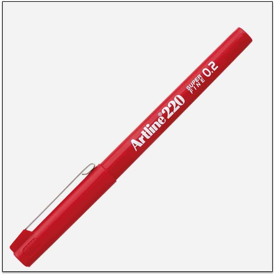 EK 220 RED bút lông kim nét nhỏ Artline Japan 1