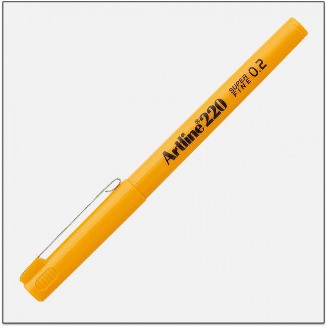 EK 220 YELLOW bút lông kim nét nhỏ Artline Japan 1