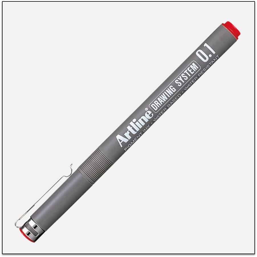 EK 231 RED bút vẽ kỹ thuật không lem artline Japan