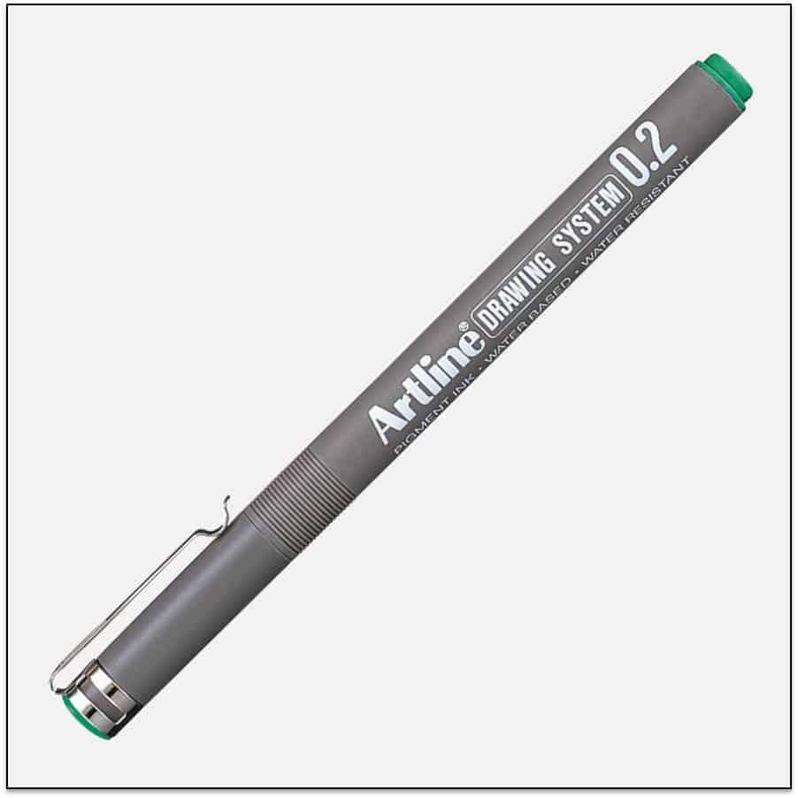 EK 232 GREEN bút vẽ kỹ thuật không lem artline Japan.png