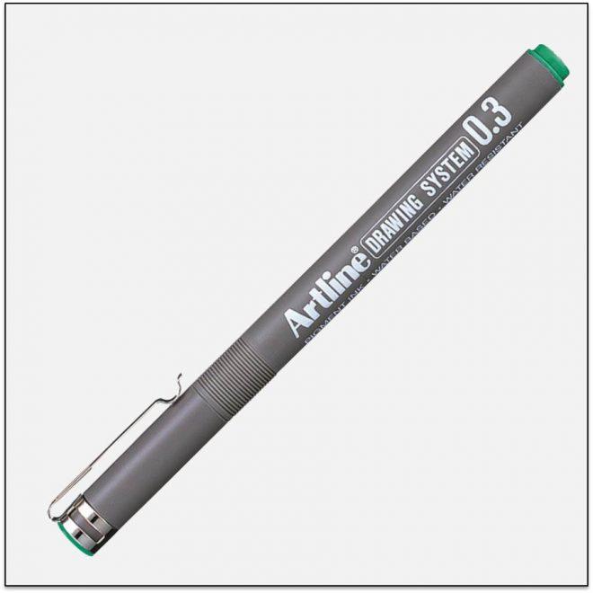 EK 233 GREEN bút vẽ kỹ thuật không lem artline Japan