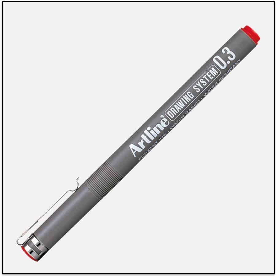 EK 233 RED bút vẽ kỹ thuật không lem artline Japan.png