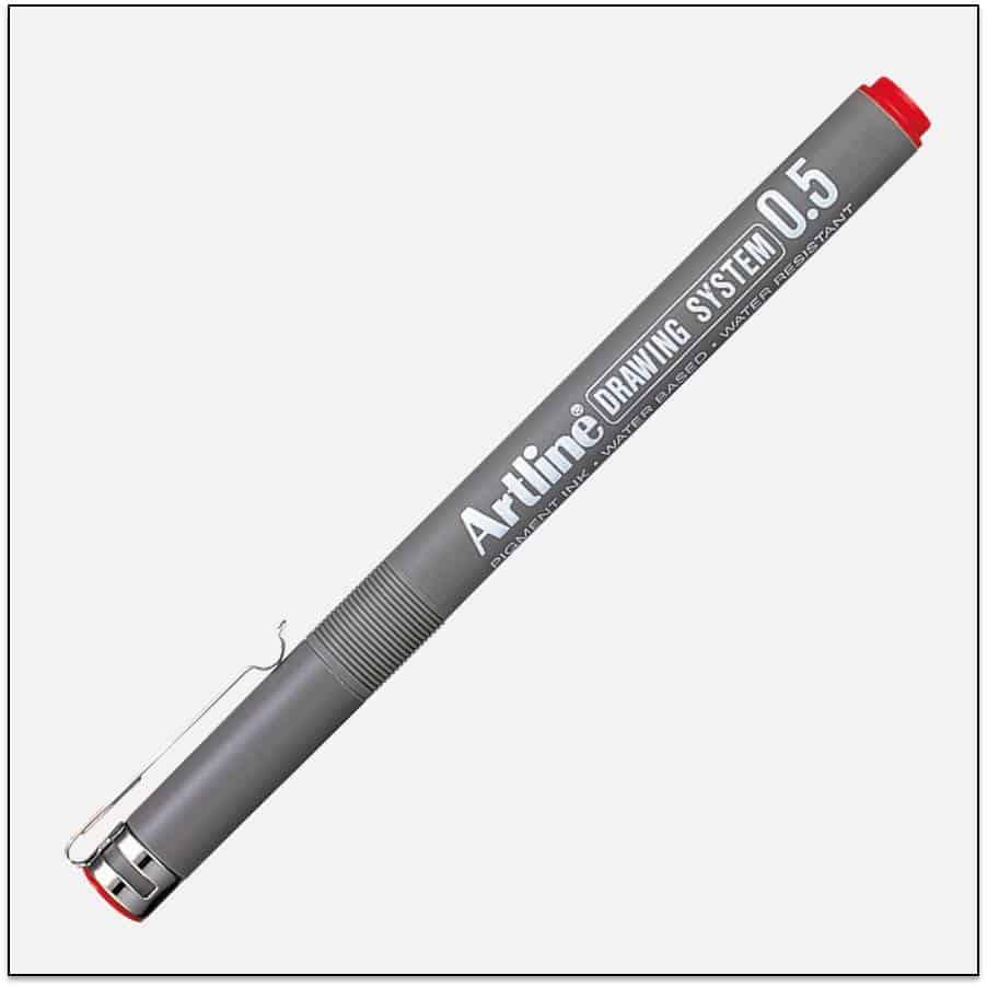 EK 235 RED bút vẽ kỹ thuật không lem artline Japan