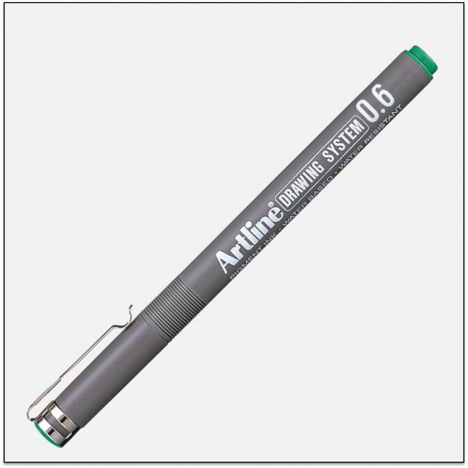 EK 236 GREEN bút vẽ kỹ thuật không lem artline Japan