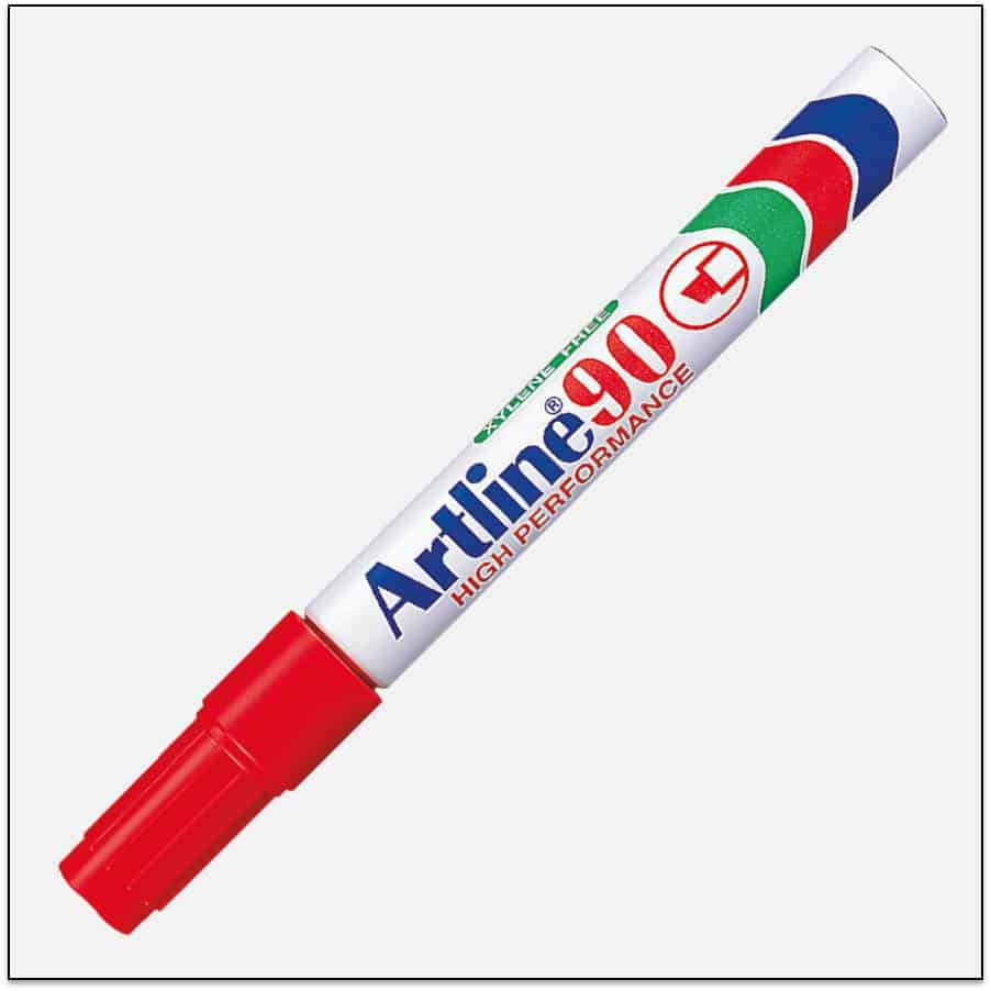 EK 90 RED Bút lông dầu không phai Artline Japan 1