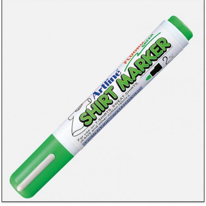 EKT 2 FLOURO GREEN bút vẽ áo không phai artline Japan
