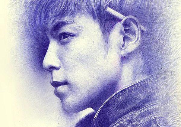 Bức ảnh rất có hồn của chàng ca sĩ TOP Big Bang cũng được Bảo vẽ lại bằng bút bi. 1