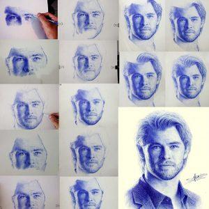 Bức vẽ của diễn viên Chris Hemsworth được Bảo vẽ lại bằng bút bi. 300x300 - Cậu bạn có khả năng vẽ tranh bằng bút bi cực đẹp