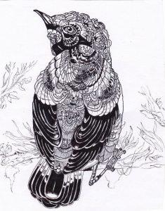 abstract patterned bird by hgmaniac15 d9belxd 235x300 - Bộ tranh vẽ cách điệu động vật ấn tượng bằng bút Artline