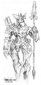 anubis by numioh 146x300 - Những bản phác thảo minh họa robot Anubis ấn tượng bằng bút đi nét Artline