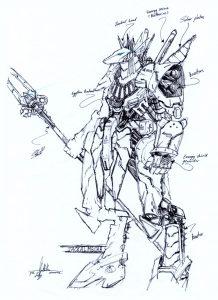 anubis rough 1 by numioh 218x300 - Những bản phác thảo minh họa robot Anubis ấn tượng bằng bút đi nét Artline