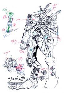 anubis rough 2 by numioh 207x300 - Những bản phác thảo minh họa robot Anubis ấn tượng bằng bút đi nét Artline