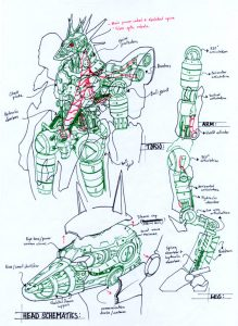 anubis schematics by numioh 219x300 - Những bản phác thảo minh họa robot Anubis ấn tượng bằng bút đi nét Artline