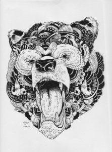 beware of the bear by hgmaniac15 d9q5uww 222x300 - Bộ tranh vẽ cách điệu động vật ấn tượng bằng bút Artline