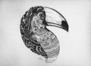 toucan by hgmaniac15 d9nuslj 300x217 - Bộ tranh vẽ cách điệu động vật ấn tượng bằng bút Artline