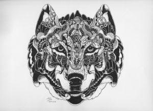 wolf watching by hgmaniac15 d9op9jg 300x218 - Bộ tranh vẽ cách điệu động vật ấn tượng bằng bút Artline