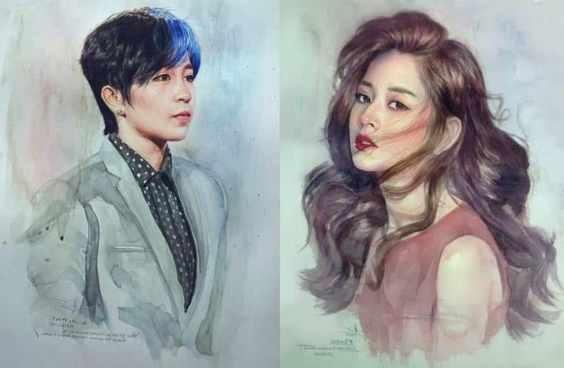 """Bộ đôi Gil Lê và Chi Pu. - Phá cách vẽ chân dung theo phong cách """"one-stroke"""""""