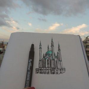 Kul Şerif Camii Kazan Tataristan 300x300 - Cảm hứng Artline #5: Vẽ ký họa kiến trúc với bút kỹ thuật Artline