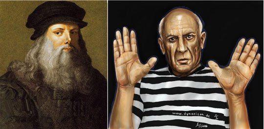 Leonardo Da Vinci bên trái và Pablo Picasso bên phải  - Làm sao để có thể vẽ đẹp!