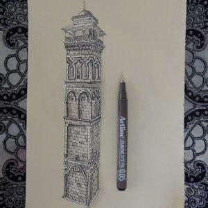Ngôi đền Mosgue Minaret Aleppo Syria 300x300 - Cảm hứng Artline #5: Vẽ ký họa kiến trúc với bút kỹ thuật Artline