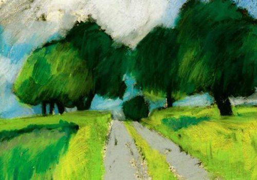 Tranh phong cảnh được vẽ bằng bút sáp dầu 1 - Bước đầu học vẽ với sáp dầu