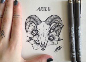 aries by nihilazari d94fj7j 300x217 - Cảm hứng Artline #6: Vẽ phong cách tatoo Dotwork với bút kỹ thuật Artline