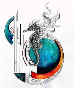 ayla acet seahorse 251x300 - Cảm hứng Artline #1: Bộ tranh minh chứng cho sự kết hợp hoàn hảo giữa bút đi nét Artline và mực màu dạ quang