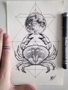 cancer by nihilazari d95h922 229x300 - Cảm hứng Artline #6: Vẽ phong cách tatoo Dotwork với bút kỹ thuật Artline