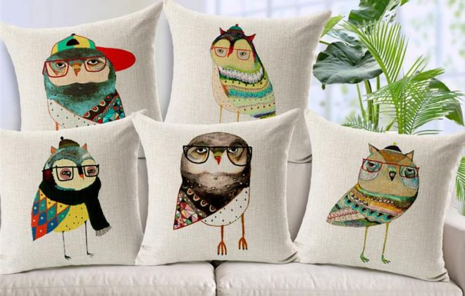 cartoon owl cushion cover jungle animal print