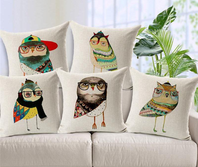 cartoon owl cushion cover jungle animal print