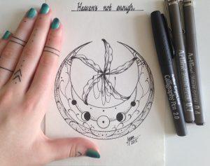 crescent moon rework by nihilazari d8z76f0 300x237 - Cảm hứng Artline #6: Vẽ phong cách tatoo Dotwork với bút kỹ thuật Artline