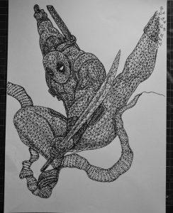 deadpool triangulation by eliasmadan d8dzw8x 244x300 - Cảm hứng Artline #7: Bộ tranh vẽ chân dung nhân vật điện ảnh theo phong cách độc đáo