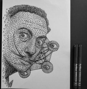 salvador dali triangulation by eliasmadan d84vo34 292x300 - Cảm hứng Artline #7: Bộ tranh vẽ chân dung nhân vật điện ảnh theo phong cách độc đáo