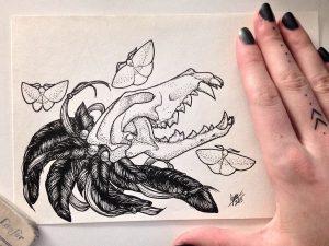vanitas wolf skull by nihilazari d90m9m2 300x225 - Cảm hứng Artline #6: Vẽ phong cách tatoo Dotwork với bút kỹ thuật Artline