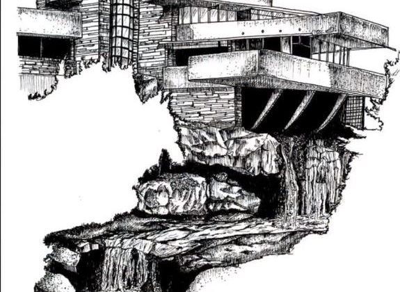 Fallingwater House Sketch Time Lapse but ve ky thuat artline ve kien truc