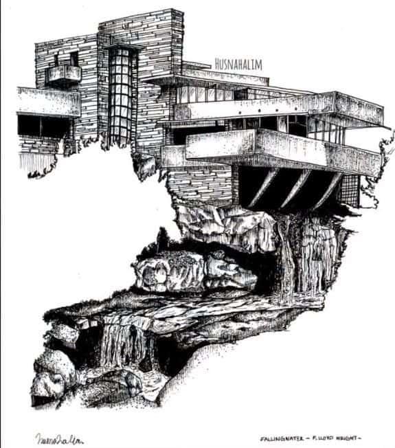 Fallingwater House Sketch Time Lapse but ve ky thuat artline ve kien truc