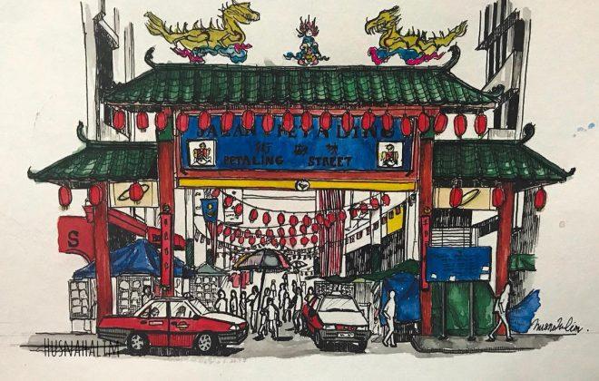 cach ve phac hoa but ve ky thuat artline Chinatown Petaling StreetJalan Petaling