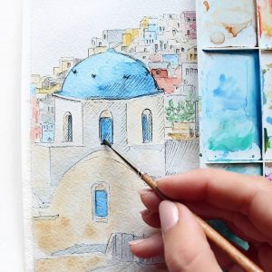 Madara Lukjanovica sketch bang but ve ky thuat artline dien hoa mau nuoc Santorini 1
