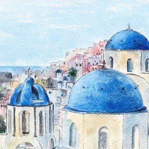 Madara Lukjanovica sketch bang but ve ky thuat artline dien hoa mau nuoc Santorini 23