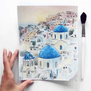 Madara Lukjanovica sketch bang but ve ky thuat artline dien hoa mau nuoc Santorini 25