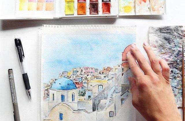 Madara Lukjanovica sketch bang but ve ky thuat artline dien hoa mau nuoc Santorini 27
