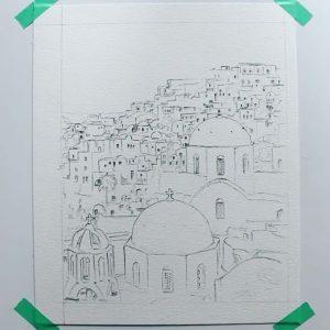 Madara Lukjanovica sketch bang but ve ky thuat artline dien hoa mau nuoc Santorini 33