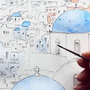 Madara Lukjanovica sketch bang but ve ky thuat artline dien hoa mau nuoc Santorini 34
